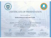 CERTIFICATE OF PRESENTATION - AUST's 2nd Technosphere in 2012 Conference and AGBA's 9th World Congress
