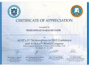 CERTIFICATE OF APPRECIATION - AUST's 2nd Technosphere in 2012 Conference and AGBA's 9th World Congress